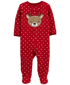 Baby Girls Footed Fleece Reindeer Coverall