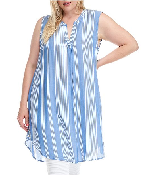 Fever Trendy Plus Size Tunic Dress with Side Metal Buttons