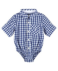 Baby Boy's Gingham Short Sleeve Button-Down Shirtzie