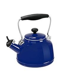 1.7Qt. Enamel-On-Steel Vintage Teakettle - Cobalt Blue