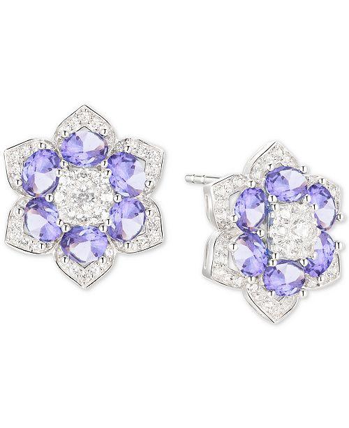 Macy's Tanzanite (1-7/8 ct. t.w.) & Diamond (1/2 ct.t.w.) Flower Stud Earrings in 14k White Gold