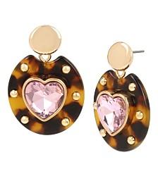 Betsey Johnson Heart Tortoise Drop Earrings