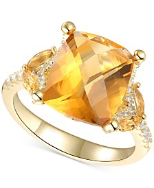 Citrine (4-1/4 ct. t.w.) & White Topaz (1/4 ct. t.w.) Statement Ring in 14k Gold-Plated Sterling Silver