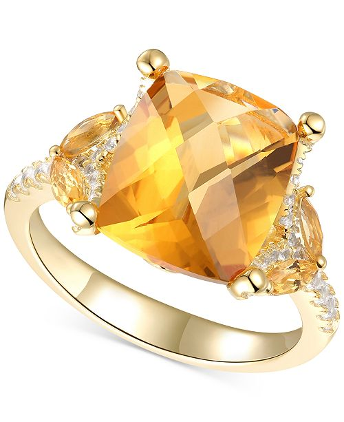 Macy's Citrine (4-1/4 ct. t.w.) & White Topaz (1/4 ct. t.w.) Statement Ring in 14k Gold-Plated Sterling Silver