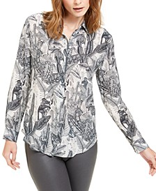 Silk Cine Floral Pattern Top
