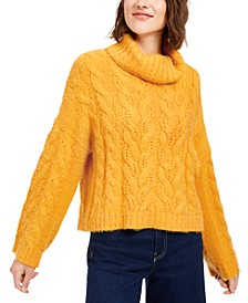 Cowl-Neck Cable-Knit Sweater