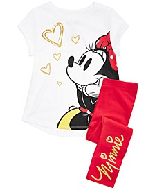 Little Girls 2-Pc. Glitter Minnie Mouse T-Shirt & Leggings Set