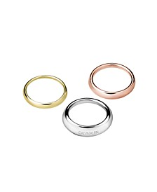 Groovy Stainless Steel and PVD Yellow Tri-Color Rings Set