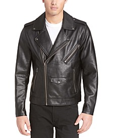 Men's Asymmetrical Faux Leather Jacket