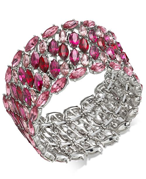 INC International Concepts INC Silver-Tone Crystal Cluster Stretch Bracelet, Created For Macy's