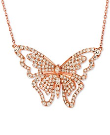 """Le Vian® Butterfly Away® Nude Diamond™ 16"""" Pendant Necklace (2-3/4 ct. t.w.) in 14k Rose Gold"""