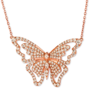 """Butterfly Away Nude Diamond 16"""" Pendant Necklace (2-3/4 ct. t.w.) in 14k Rose Gold"""