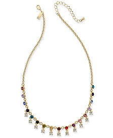 """INC Gold-Tone Multicolor Crystal Shaky Collar Necklace, 18"""" + 3"""" extender, Created For Macy's"""