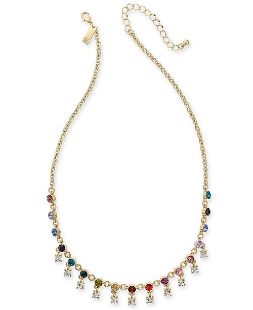 """INC International Concepts INC Gold-Tone Multicolor Crystal Shaky Collar Necklace, 18"""" + 3"""" extender, Created For Macy's"""