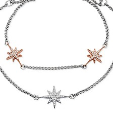 Diamond Two-Tone Star Layered Bolo Bracelet (1/6 ct. t.w.) in 14k White and Rose Gold