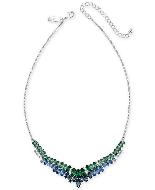 """INC International Concepts INC Silver-Tone Stone Ombré Collar Necklace, 15-1/2"""" + 3"""" extender, Created For Macy's"""
