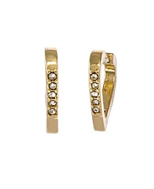 Gold Tone Heart Huggie Hoop Earrings