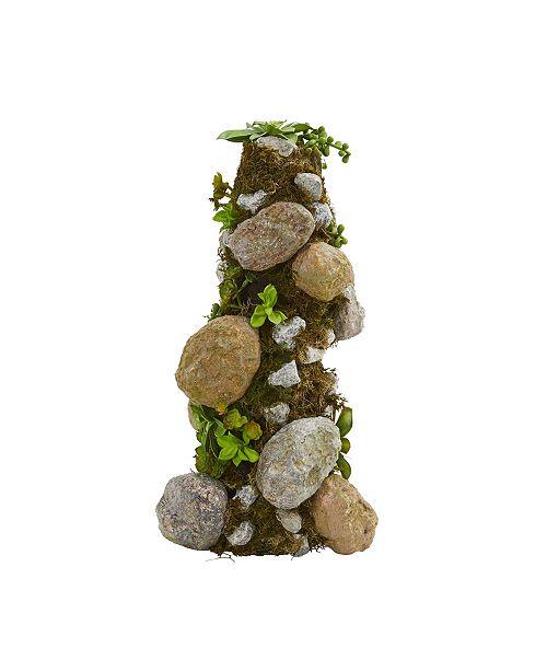 "Nearly Natural 18"" Succulent Rock Column"