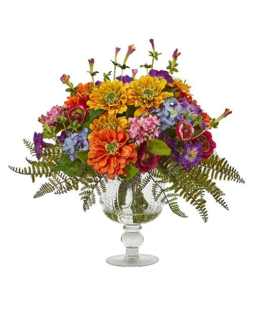 Nearly Natural Mixed Flowers Artificial Arrangement in Royal Vase