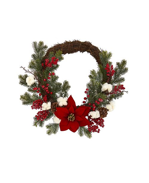 """Nearly Natural 19"""" Poinsettia with Berries and Cotton Artificial Wreath"""