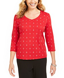 Anchor-Print V-Neck Top, Created for Macy's