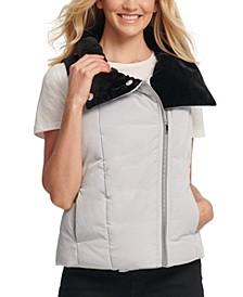 Velvet-Trim Puffer Vest
