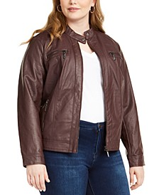 Trendy Plus Size Faux-Leather Moto Jacket
