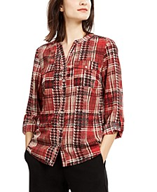 Petite Plaid Collarless Shirt