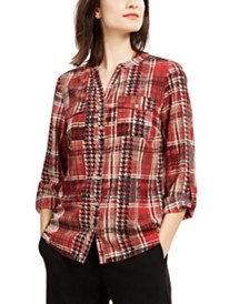 NY Collection Petite Plaid Collarless Shirt