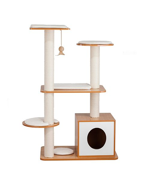 Elegant Home Fashions Multi Level Cat Playground with Hideaway Cube