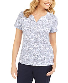Printed Short-Sleeve Henley Top, Created For Macy's