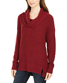 Petite Cowl-Neck Vented-Hem Sweater, Created For Macy's