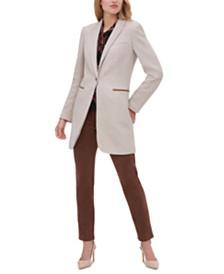 Tommy Hilfiger Elbow-Patch Topper Jacket, Twist-Neck Plaid Blouse & Faux-Suede Pants