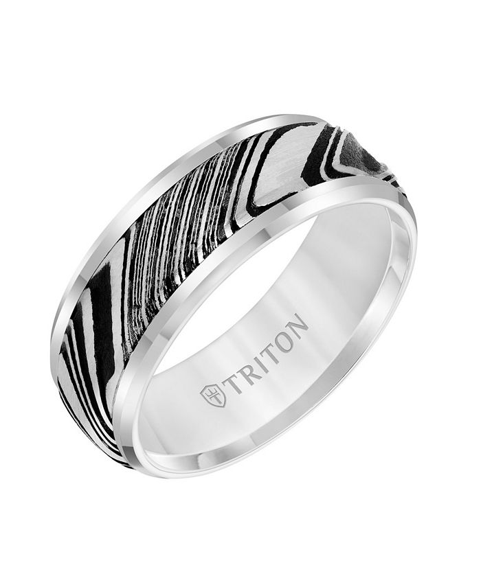Triton - 8MM White Tungsten Carbide Ring with Damascus Steel