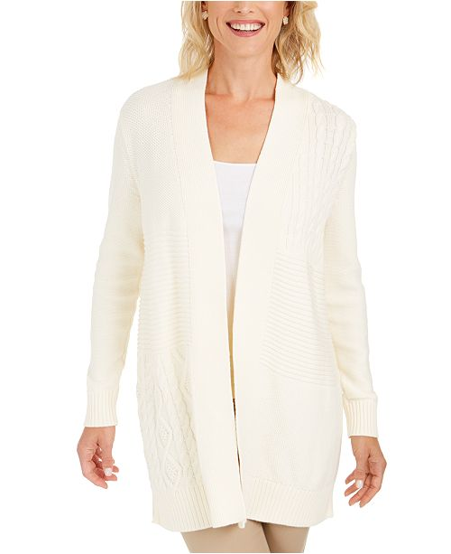 Charter Club Petite Patchwork Cardigan, Created For Macy's