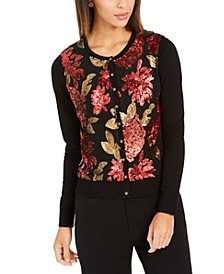 Petite Sequin-Embroidered Cardigan, Created For Macy's