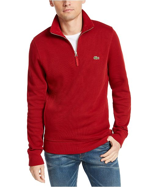 Lacoste Men's French Rib Interlock Quarter-Zip Sweater
