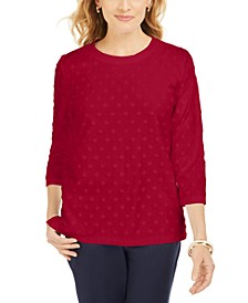 Sport Textured-Dot 3/4-Sleeve Top, Created For Macy's