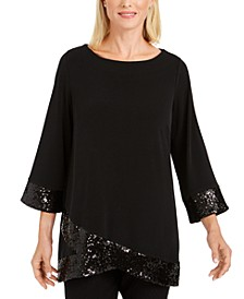 Sequined-Hem Crossover-Hem Top, Created for Macy's