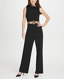 Tie Neck Leopard Belt Jumpsuit