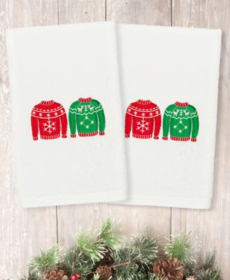 Christmas Sweaters Embroidered 100% Turkish Cotton 2-Pc. Hand Towel Set