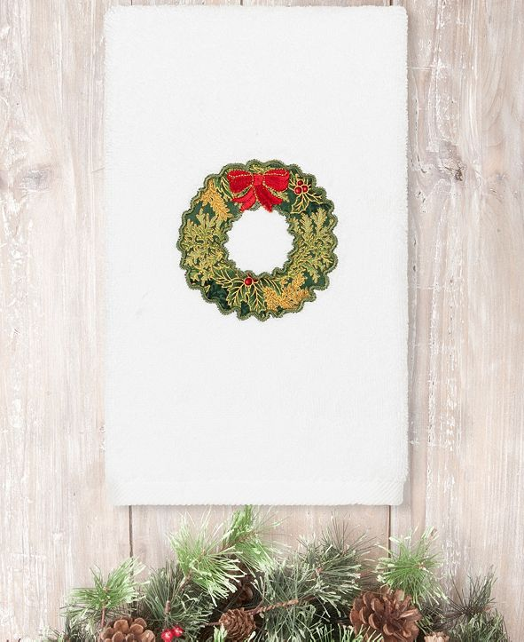 Linum Home Christmas Wreath Embroidered 100% Turkish Cotton Hand Towel