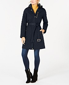 Petite Hooded Quilted Coat, Created for Macy's