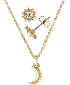 "Gold-Tone Crystal Sun Stud Earrings & Moon Pendant Necklace Gift Set, 16"" + 2"" extender"
