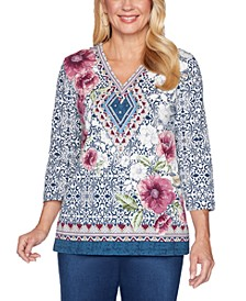 Petite Autumn Harvest Mixed Print Tunic