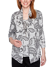 Alfred Dunner Well Red Printed Layered-Look Top