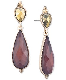 Gold-Tone Stone Double Drop Earrings
