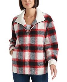 Zip-Front Plaid Coat
