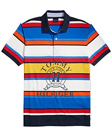 Men's Custom-Fit Spruce Striped Logo Polo Shirt with Magnetic Buttons