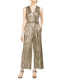 Donna Ricco Sequined Metallic Jumpsuit
